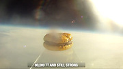 This burger is out of this world! Five bored Harvard students send whopper into space<br /> <br /> A group of five bored Harvard University students put their $40,000-a-year Ivy League education to good use by launching the first ever hamburger into the upper reaches of the atmosphere.<br /> The students, juniors Renzo Lucioni, Nuseir Yassin, Daniel Broudy, Jamie Law-Smith and Matt Moellman, spent a weekend last month brainstorming ideas for a fun science project to break the monotony of school.<br /> In the end, the Ivy League innovators decided to send a hamburger into space as part of Operation: Skyfall. To accomplish their goal, they contacted Jon Olinto, the co-founder of the local eatery b.good burger.<br /> <br /> Olinto jumped on the opportunity to become a restaurant industry space pioneer and rushed to write the Harvard wiz kids a check for $1,000 to finance the experiment, ABC News reported.<br /> Lucioni told Boston.com he was inspired to launch the whopper after reading about MIT students who sent a camera into space via helium balloon in 2009.<br /> It took the group about 30 hours spread over two weekends to prepare the launch, which required gluing the layers of a two-day-old hamburger together, varnishing it, mounting it on an acrylic pedestal, placing it inside a Styrofoam shipping crate and attaching the whole structure to a 600-gram weather balloon filled with helium.<br /> The b. good burger was launched into space from a wooded area of Sturbridge, Massachusetts, at around 12.20pm on October 27. It took the balloon carrying the patty meal two hours to reach an altitude of more than 98,000feet, or 19 miles, and an hour to plummet back to Earth.<br /> The contraption carrying the trailblazing treat was recovered 130 miles north of Boston using GPS data transmitted by the smartphone.<br /> The balloon landed high up in a 100-foot tree, forcing b. good burger to hire a tree climber to retrieve it after a failed attempt to shoot it down with a bow an