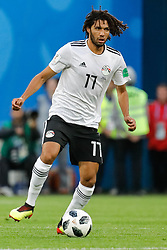 June 19, 2018 - Saint Petersburg, Russia - Mohamed Elneny of Egypt national team during the 2018 FIFA World Cup Russia group A match between Russia and Egypt on June 19, 2018 at Saint Petersburg Stadium in Saint Petersburg, Russia. (Credit Image: © Mike Kireev/NurPhoto via ZUMA Press)