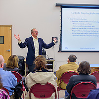 030315       Cable Hoover<br /> <br /> Tom Parker with consulting firm CDM Smith presents curbside options during a meeting at the Indian Hill fire station in Gallup Tuesday.