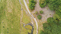 Aerial view of people transporting goods with animals at small road, Spain.