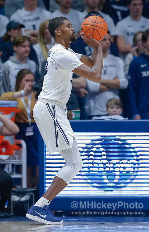 CINCINNATI, OH - NOVEMBER 13: Naji Marshall #13 of the Xavier Musketeers shoots the ball during the game against the Wisconsin Badgers at Cintas Center on November 13, 2018 in Cincinnati, Ohio. (Photo by Michael Hickey/Getty Images) *** Local Caption *** Naji Marshall