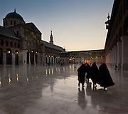 Courtyard at dusk Umayyad Mosque, Damascus, Syria