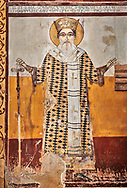 Pictures & images of the Byzantine fresco panels in the Gelati Georgian Orthodox Church of the Virgin, 1106, depicting saints.  The medieval Gelati monastic complex near Kutaisi in the Imereti region of western Georgia (country). A UNESCO World Heritage Site. .<br /> <br /> Visit our MEDIEVAL PHOTO COLLECTIONS for more   photos  to download or buy as prints https://funkystock.photoshelter.com/gallery-collection/Medieval-Middle-Ages-Historic-Places-Arcaeological-Sites-Pictures-Images-of/C0000B5ZA54_WD0s<br /> <br /> Visit our REPUBLIC of GEORGIA HISTORIC PLACES PHOTO COLLECTIONS for more photos to browse, download or buy as wall art prints https://funkystock.photoshelter.com/gallery-collection/Pictures-Images-of-Georgia-Country-Historic-Landmark-Places-Museum-Antiquities/C0000c1oD9eVkh9c