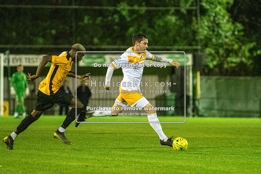 MERSTHAM, UK - OCTOBER 15: Charlie Allen, of Cray Wanderers FC, gets away from his marker during the BetVictor Isthmian Premier League match between Merstham and Cray Wanderers at The Whisky Bible Stadium on October 15, 2019 in Merstham, UK. <br /> (Photo: Jon Hilliger)