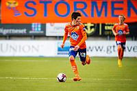 1. divisjon fotball 2018: Aalesund - Levanger (4-0). Aalesunds Sondre Brunstad Fet stormer i angrep i kampen i 1. divisjon i fotball mellom Aalesund og Levanger på Color Line Stadion.