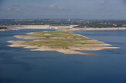 Lake Travis revealing the 'Sometimes Islands' during drought conditions in Central Texas.