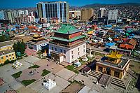 Mongolie, Oulan Bator, Monastere de Gandan (Gandantegchinlen Khiid) vue aerienne // Mongolia, Ulan Bator, Gandan monastery (Gandantegchinlen Khiid), aerial view