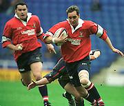 Reading. United Kingdom.   Rugby. England vLondon Irish vs Gloucester Rugby,  Gloucester fulf back Jon Goodridge  makes a break  [Mandatory Credit; Peter Spurrier/Intersport Images]