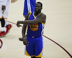 June 9, 2017 - Cleveland, OH, USA - The Golden State Warriors' Draymond Green reacts to a technical foul that was called back against the Cleveland Cavaliers in the third quarter during Game 4 of the NBA Finals at Quicken Loans Arena in Cleveland on Friday, June 9, 2017. The Cavs won, 137-116, trimming their series deficit to 3-1. (Credit Image: © Leah Klafczynski/TNS via ZUMA Wire)