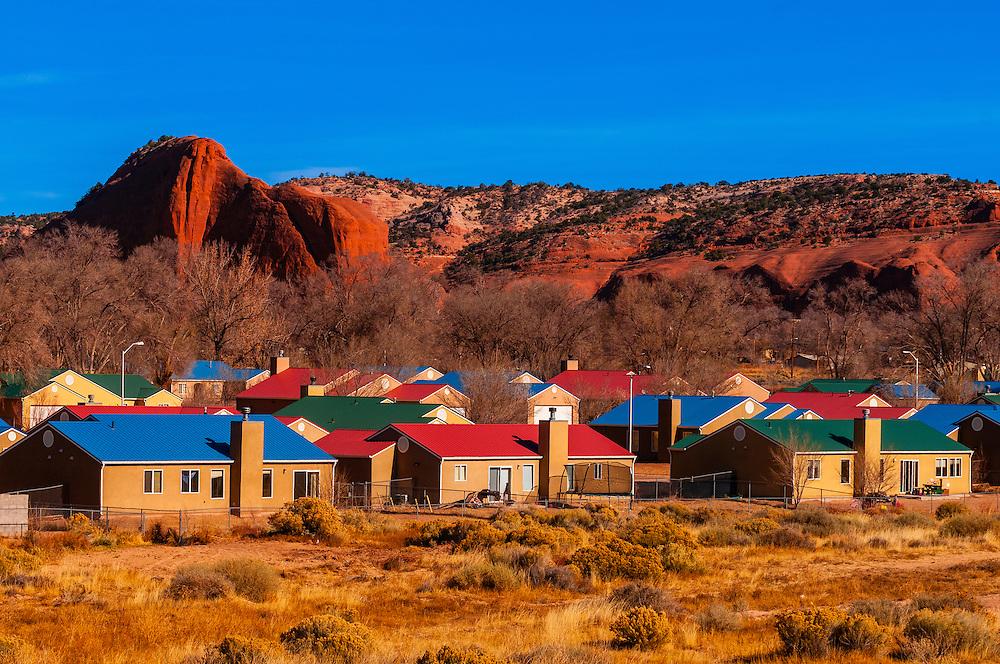 Houses, Navajo Wingate Village, Navajo Nation, Church Rock, New Mexico USA.