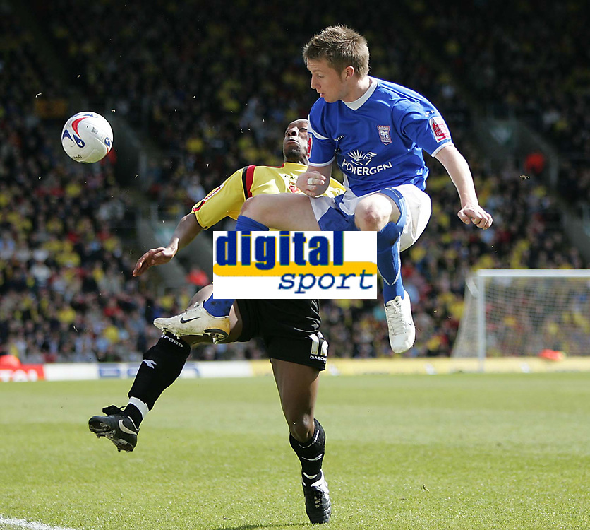 Photo: Lee Earle.<br /> Watford v Ipswich Town. Coca Cola Championship. 17/04/2006. Ipswich's Dean Bowditch (R) clashes with Lloyd Doyley.