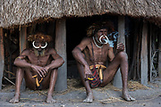 Dani tribe men<br /> Budaya village<br /> Suroba<br /> Trikora Mountains<br /> West Papua<br /> Indonesia