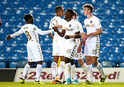 Caleb Ekuban of Leeds United celebrates with teammates after scoring a goal to make it 4-1 - Mandatory by-line: Robbie Stephenson/JMP - 09/08/2017 - FOOTBALL - Elland Road - Leeds, England - Leeds United v Port Vale - Carabao Cup