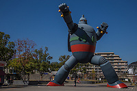 Tetsujin monument reaches a height of 18 meters of the character Tetsujin 28-go in Japan, called Gigantor elsewhere. The statue is both a monument to the reliance of Kobe people after the Hanshin Earthquake in 1995, and also the character's creator.  The statue symbolizes Kobe's revival and stands in Wakamatsu Park.  The character was created by the Kobe-born manga artist Mitsuteru Yokoyama.
