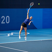 TOKYO, JAPAN - JULY 20: Maria Sakkari of Greece practicing at Ariake Tennis Park in preparation for the Tokyo 2020 Olympic Games on July 20, 2021 in Tokyo, Japan. (Photo by Tim Clayton/Corbis via Getty Images)