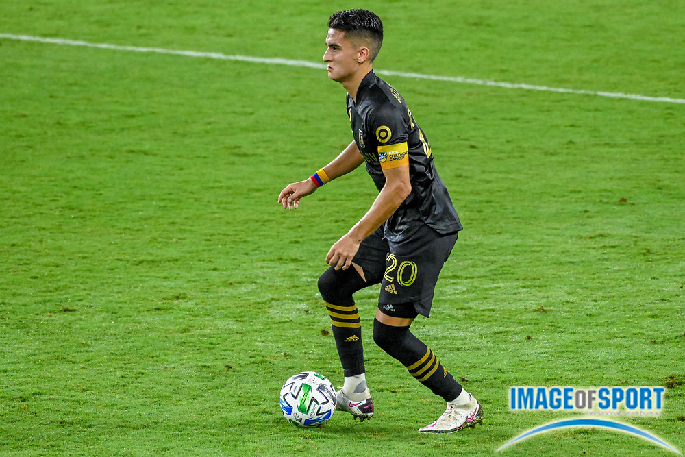 LAFC midfielder Eduard Atuesta (20) runs with the ball during a MLS soccer game, Sunday, Sept. 27, 2020, in Los Angeles. The San Jose Earthquakes defeated LAFC 2-1.(Dylan Stewart/Image of Sport)