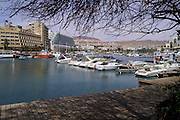 Boats and Yachts on the Eilat beach Eilat, April 2006. Eilat, pop. 55,000, is Israel's southernmost city in the Southern District of Israel. Adjacent to the Egyptian city of Taba and Jordanian port city of Aqaba, Eilat is located at the northern tip of the Gulf of Aqaba, which is the eastern sleeve of the Red Sea.