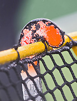 WASSENAAR - HOCKEY - Hockeystick in de regen   tijdens de hoofdklasse competitiewedstrijd tussen de vrouwen  van HDM en Laren. COPYRIGHT KOEN SUYK