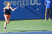 EKATERINA MAKAROVA hits a running forehand during her semifinal match at the Citi Open at the Rock Creek Park Tennis Center in Washington, D.C.