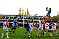 Bath Lock (#4) Stuart Hooper (Capt) wins a lineout during the second half of the match - Photo mandatory by-line: Rogan Thomson/JMP - Tel: Mobile: 07966 386802 09/11/2012 - SPORT - RUGBY - The Recreation Ground - Bath. Bath v Newport Gwent Dragons  - LV= Cup