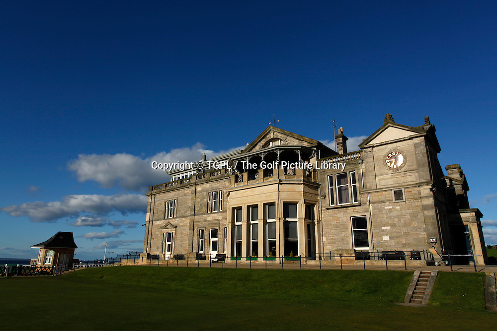 The famous R & A clubhouse overlooking the first tee and 18th green and links  at St Andrews Old Course,St Andrews,Fife,Scotland.