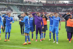March 18, 2018 - Turin, Piedmont, Italy - ACF Fiorentina players celebrate the victory against Torino FC after the Serie A football match at Olympic Grande Torino Stadium on 18 March, 2018 in Turin, Italy. Final results: 1-2  (Credit Image: © Massimiliano Ferraro/NurPhoto via ZUMA Press)