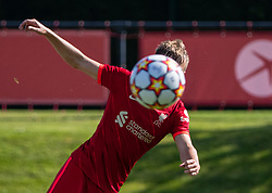 LIVERPOOL, ENGLAND - Wednesday, September 15, 2021: Liverpool's Max Woltman shoots during the UEFA Youth League Group B Matchday 1 game between Liverpool FC Under19's and AC Milan Under 19's at the Liverpool Academy. Liverpool won 1-0. (Pic by David Rawcliffe/Propaganda)