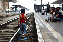 © Licensed to London News Pictures. Budapest, Hungary. A young boy walks along the train tracks at  Keleti station in Hungary. Some of the refugees boarded trains which took them to a temporary camp along the train line in Bicske. Photo credit: Gabriel Szabo/LNP