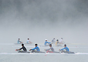 Aiguebelette, FRANCE,  Crews training on a mist lake at the  2015 FISA World Rowing Championships, Venue, Lake Aiguebelette - Savoie. <br /> <br /> Friday  04/09/2015  [Mandatory Credit. Peter SPURRIER/Intersport Images]. © Peter SPURRIER, Atmospheric, Rowing