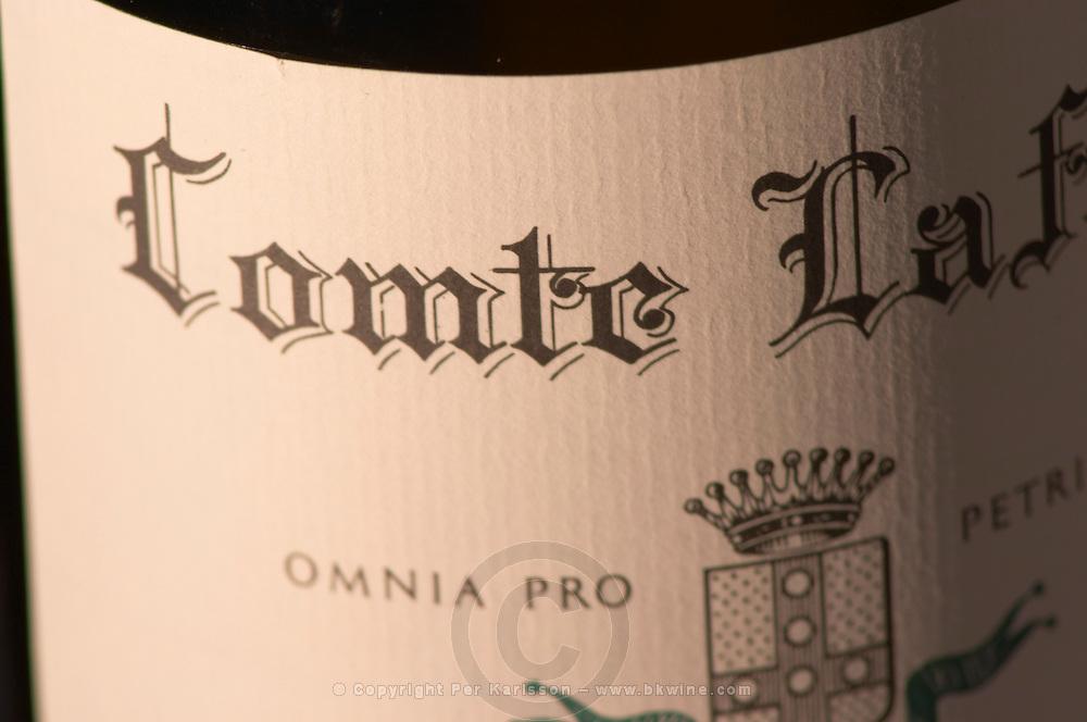 A bottle of Sancerre Comte Lafond by Chateau du Nozet de Ladoucette, Pouilly sur Loire - close-up of the label - Loire Valley, France