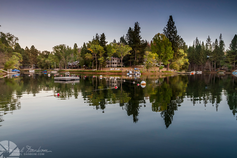 Pine Mountain Lake, view of houses with reflection, near Groveland, California
