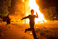 Childrens running near the bonfires in the orthodox distric of Mea Shearim during the Lag BaOmer celebrations