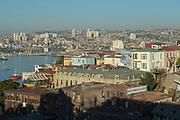 Cityscape with horizon and sea, Valparaiso, Chile
