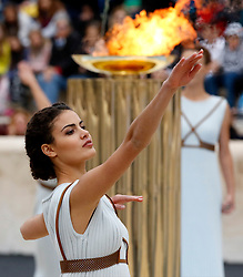 October 31, 2017 - Athens, Greece - Handover ceremony for the Olympic Flame at Panathenaic stadium in Athens. The South Korean leg of the relay will involve 7,500 torch-bearers, who will cover a total 2,018 kilometers (about 1260 miles) before the opening ceremony in Pyeongchang, which will host the Feb. 9-25, 2018 Winter Olympics. (Credit Image: © Eurokinissi via ZUMA Wire)
