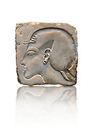 Ancient Egyptian relief portrait of King Akhenaten from Amarna. 18th Dynasty 1340 BC . Neues Museum Berlin Cat No: AM 21683. .<br /> <br /> If you prefer to buy from our ALAMY PHOTO LIBRARY  Collection visit : https://www.alamy.com/portfolio/paul-williams-funkystock/ancient-egyptian-art-artefacts.html  . Type -   Neues    - into the LOWER SEARCH WITHIN GALLERY box. Refine search by adding background colour, subject etc<br /> <br /> Visit our ANCIENT WORLD PHOTO COLLECTIONS for more photos to download or buy as wall art prints https://funkystock.photoshelter.com/gallery-collection/Ancient-World-Art-Antiquities-Historic-Sites-Pictures-Images-of/C00006u26yqSkDOM