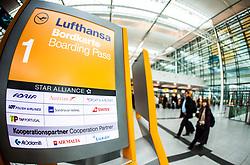 THEMENBILD - Airport Muenchen, Franz Josef Strauß (IATA: MUC, ICAO: EDDM), Der Flughafen Muenchen zählt zu den groessten Drehkreuzen Europas, rund 100 Fluggesellschaften verbinden ihn mit 230 Zielen in 70 Laendern, im Bild Lufthansa Hinweisschild // THEME IMAGE, FEATURE - Airport Munich, Franz Josef Strauss (IATA: MUC, ICAO: EDDM), The airport Munich is one of the largest hubs in Europe, approximately 100 airlines connect it to 230 destinations in 70 countries. picture shows: Lufthansa sign, Munich, Germany on 2012/05/06. EXPA Pictures © 2012, PhotoCredit: EXPA/ Juergen Feichter
