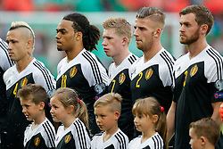 Kevin De Bruyne of Belgium (Wolfsburg) looks on during the anthems - Photo mandatory by-line: Rogan Thomson/JMP - 07966 386802 - 12/06/2015 - SPORT - FOOTBALL - Cardiff, Wales - Cardiff City Stadium - Wales v Belgium - EURO 2016 Qualifier.