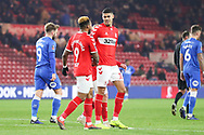 Middlesbrough forward Ashley Fletcher (18) is congratulated by Middlesbrough forward Britt Assombalonga (9) after scoring is team's fifth goal during The FA Cup 3rd round match between Middlesbrough and Peterborough United at the Riverside Stadium, Middlesbrough, England on 5 January 2019.