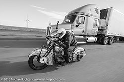 Mark Hill riding his 1936 Indian Four during Stage 9 (249 miles) of the Motorcycle Cannonball Cross-Country Endurance Run, which on this day ran from Burlington to Golden, CO., USA. Sunday, September 14, 2014.  Photography ©2014 Michael Lichter.