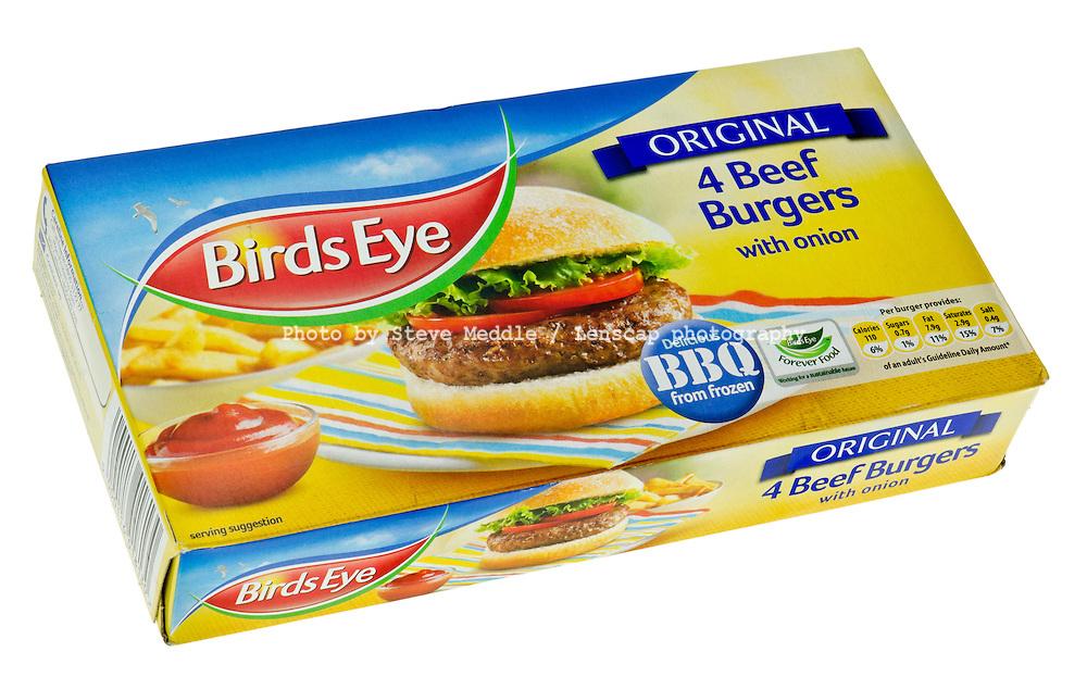 Box of Birds Eye Beef Burgers.