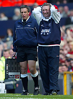 Photo Aidan Ellis.<br />Arsenal v Sheffield United (FA Cup Semi Final) <br />Old Trafford. 13/04/2003.<br />Neil Warnock cant believe another decision is given against his team by referee Graham Poll
