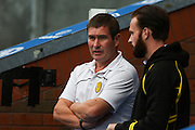 Burton Albion manager Nigel Clough watches his team warm up before the EFL Sky Bet Championship match between Blackburn Rovers and Burton Albion at Ewood Park, Blackburn, England on 20 August 2016. Photo by Simon Brady.