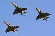 Israeli Air Force Mcdonnell-Douglas Skyhawk fighter jet in formation