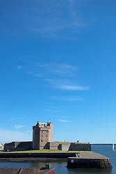 Broughty ferry castle harbour summer blue sky