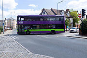 Double decker Ipswich Buses bus in town centre, Ipswich, Suffolk, England, UK