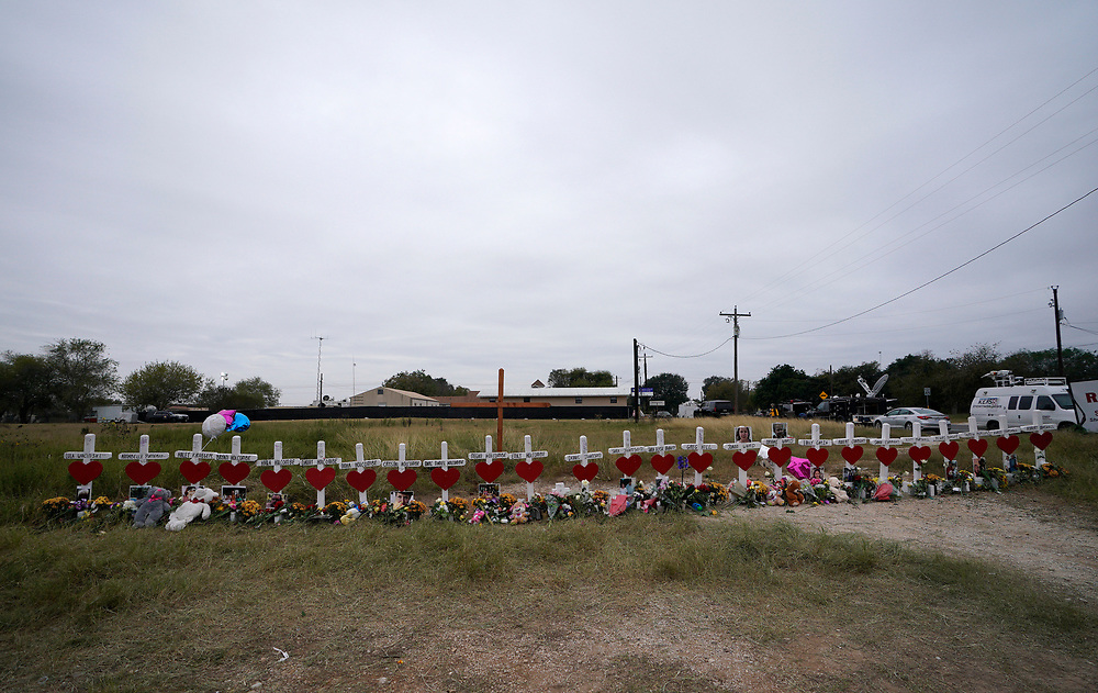 A line of crosses in remembrance of those killed in the shooting at the First Baptist Church of Sutherland Springs, Texas, U.S.  November 10, 2017.  REUTERS/Rick Wilking