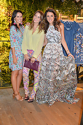 Left to right, VENETIA FALCONER, KELLY EASTWOOD and ROSANNA FALCONER at a party to celebrate the launch of Matthew Williamson: Fashion, Print and Colouring Book held at Anthropologie, 158 Regent Street, London on 8th September 2016.