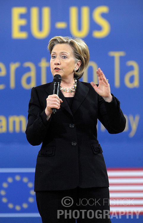 Hillary Clinton, U.S. secretary of state, speaks during a town-hall meeting at the European Parliament, in Brussels, Friday, March, 6, 2009. (Photo © Jock Fistick)