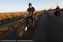 Vern Acres (L) of Ontario, Canada riding his 4-cylinder 1914 Henderson class-2 motorcycle with Doug Wothke of Alabama on his 1916 Indian during the Motorcycle Cannonball Race of the Century. Rest day in Dodge City, KS. USA. Sunday September 18, 2016. Photography ©2016 Michael Lichter.
