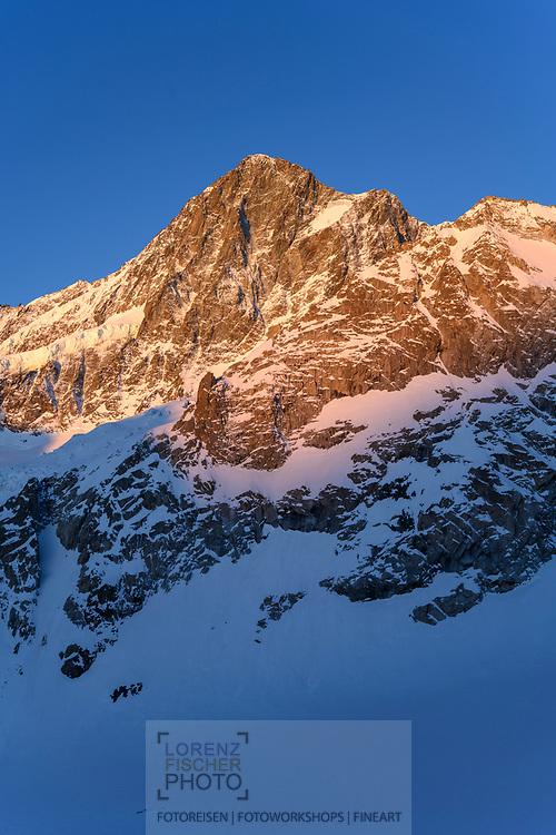 Morgensonne am Finsteraarhorn  vom Aarbiwak aus gesehen, Grimselgebiet, Berner Oberland, Schweiz<br /> <br /> Morning sun on the Finsteraarhorn seen from the Aarbiwak, Grimselgebiet, Bernese Oberland, Switzerland